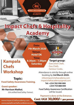 Impact Chefs and Hospitality Academy Food Safety Awareness Certification Training 2020 - Easy Price Book Uganda
